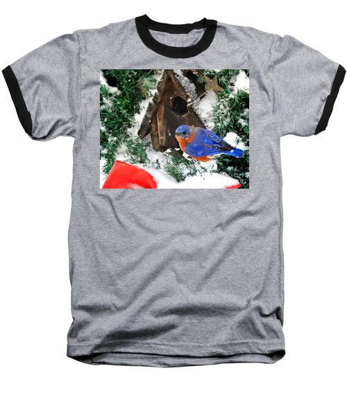 Snow Bluebird Christmas Card Baseball T-Shirt