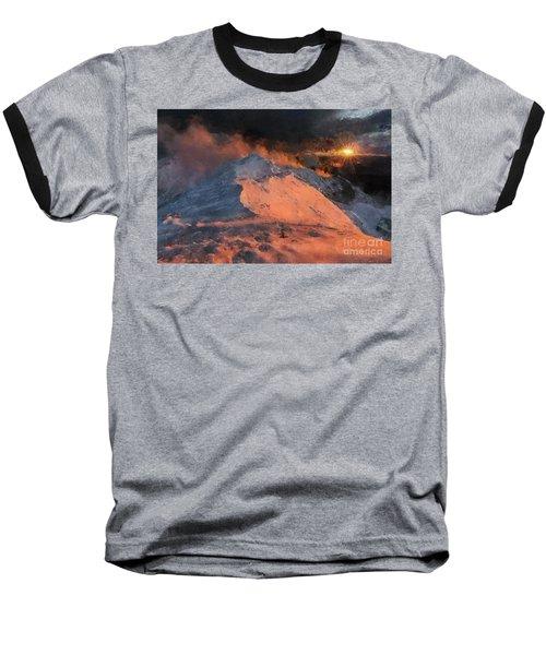 Snow Cap Sunset Baseball T-Shirt