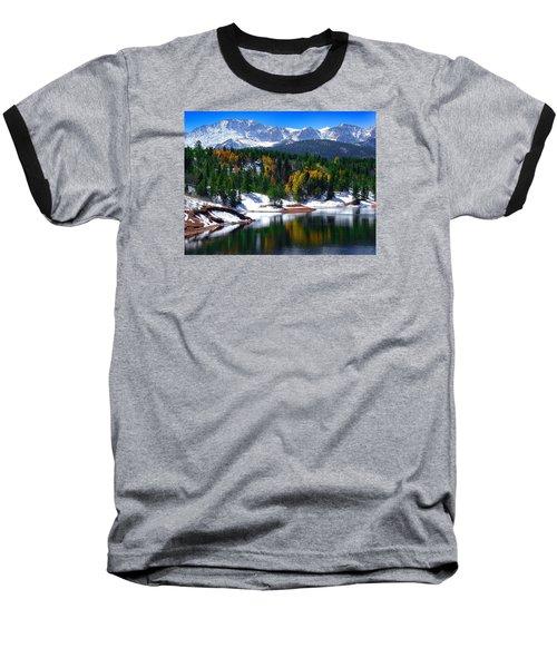 Snow Capped Pikes Peak At Crystal  Baseball T-Shirt