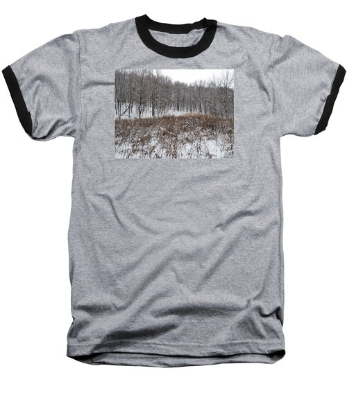 Snow Covered Woodland Baseball T-Shirt