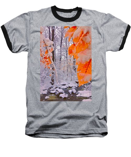 Snow Covered Woods And Stream Baseball T-Shirt