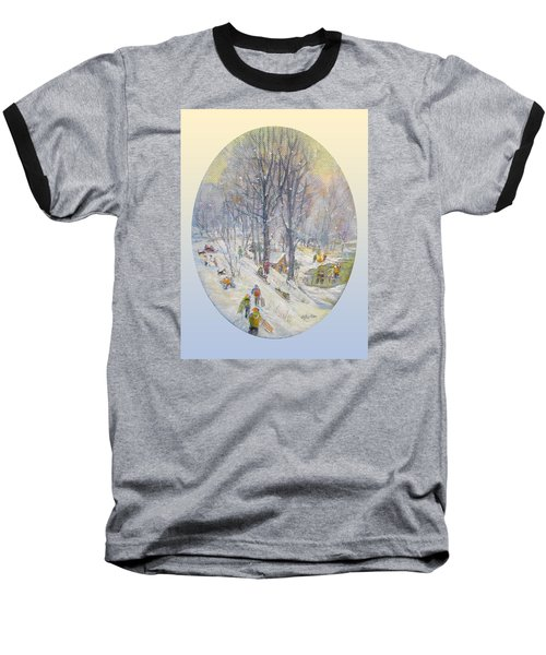 Baseball T-Shirt featuring the painting Snow Day by Donna Tucker