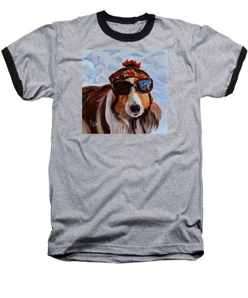 Snow Dog Baseball T-Shirt by Pattie Wall