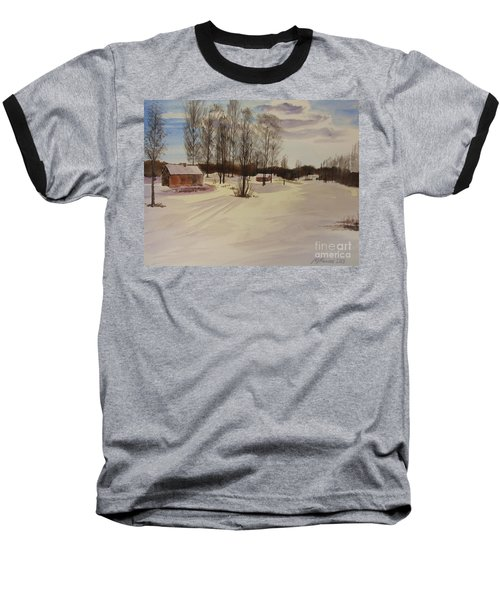 Baseball T-Shirt featuring the painting Snow In Solbrinken by Martin Howard