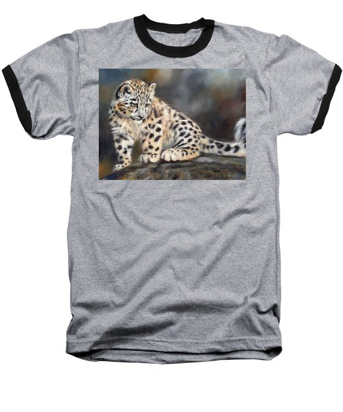 Snow Leopard Cub Baseball T-Shirt