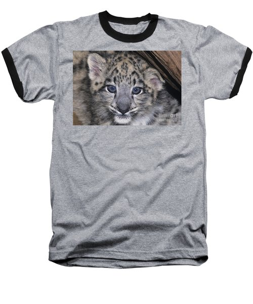 Baseball T-Shirt featuring the photograph Snow Leopard Cub Endangered by Dave Welling