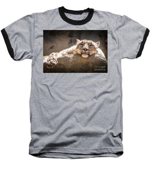 Snow Leopard Relaxing Baseball T-Shirt