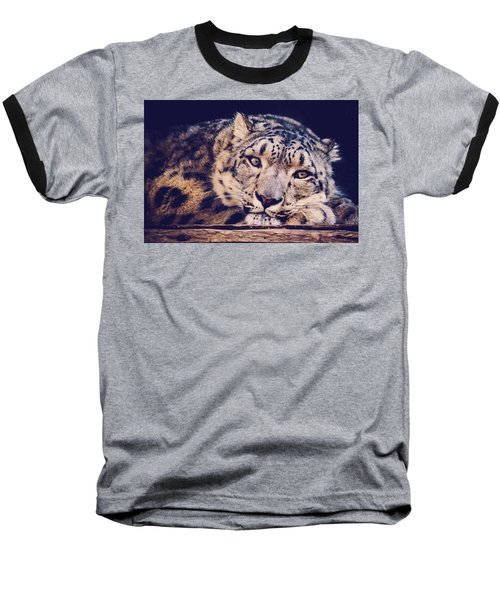 Snow Leopard Baseball T-Shirt by Sara Frank