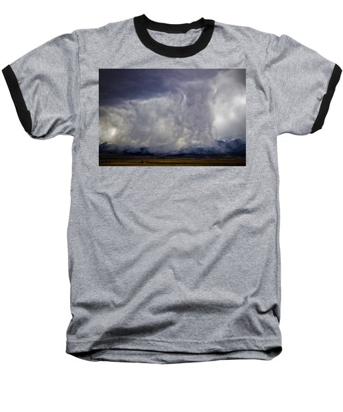 Snow On The Rockies Baseball T-Shirt by Greg Reed