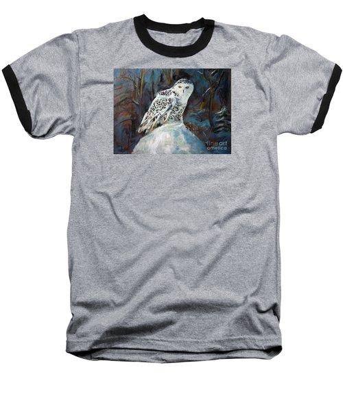 Snow Owl Baseball T-Shirt by Jieming Wang