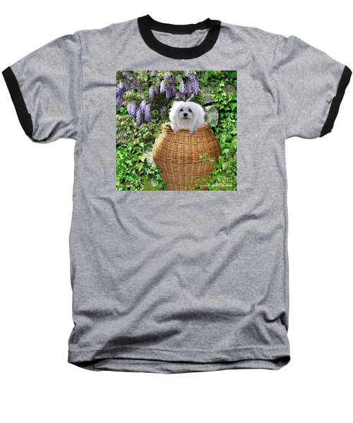 Baseball T-Shirt featuring the mixed media Snowdrop In A Basket by Morag Bates