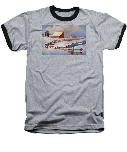 Baseball T-Shirt featuring the photograph Snowed In by Priscilla Burgers