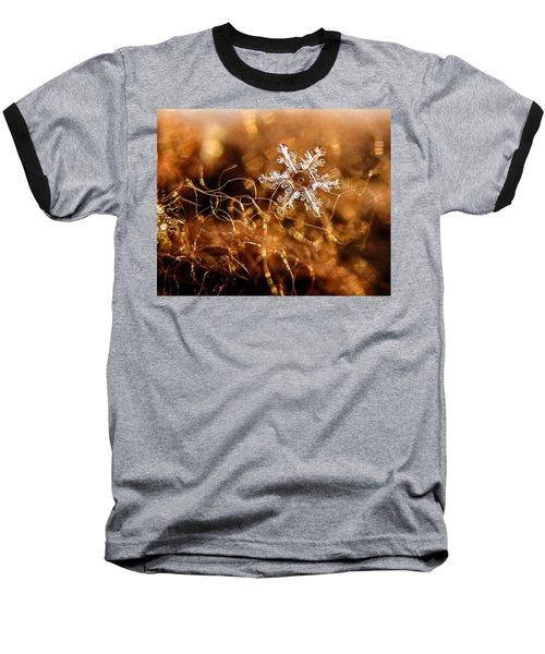 Snowflake On Brown Baseball T-Shirt