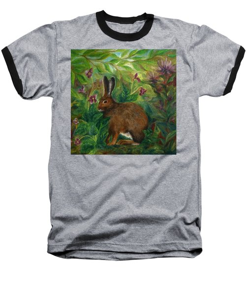 Snowshoe Hare Baseball T-Shirt by FT McKinstry