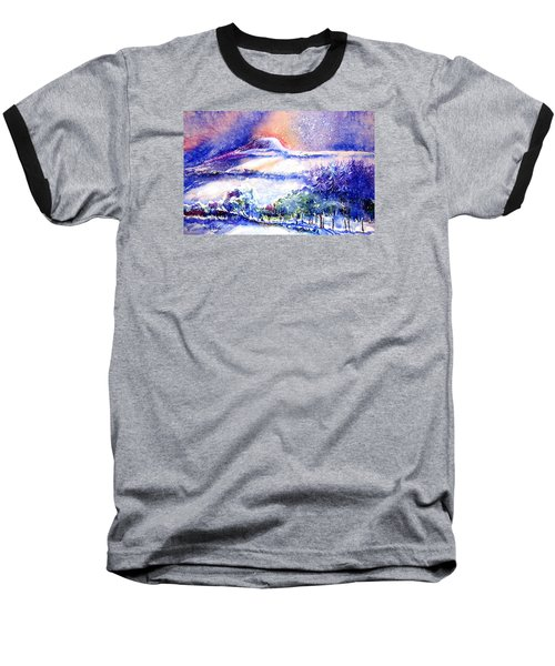 Baseball T-Shirt featuring the painting Snowstorm Over Eagle Hill Hacketstown  by Trudi Doyle