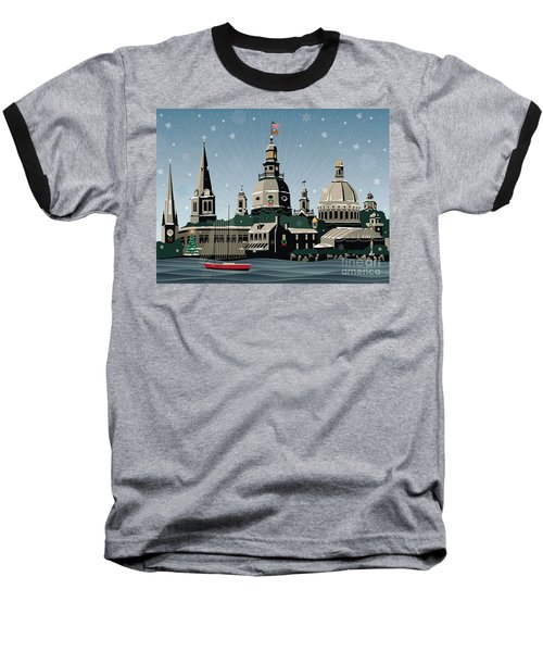 Snowy Annapolis Holiday Baseball T-Shirt