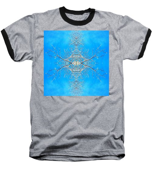 Snowy Branches In The Sky Abstract Art Photo Baseball T-Shirt by Marianne Dow