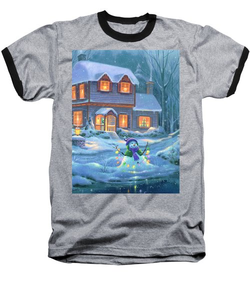 Baseball T-Shirt featuring the painting Snowy Bright Night by Michael Humphries