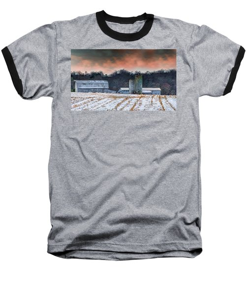 Snowy Cornfield Baseball T-Shirt