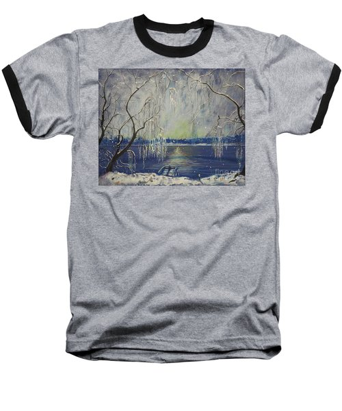 Snowy Day At The Lake Baseball T-Shirt