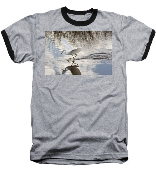 Snowy Egret Gliding Across The Water Baseball T-Shirt by John M Bailey