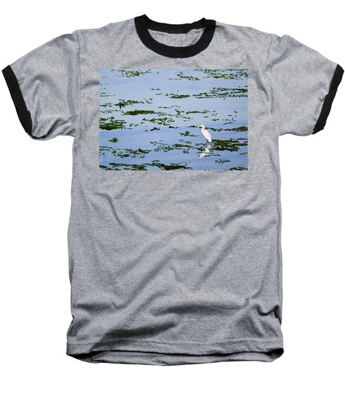 Snowy Egret Baseball T-Shirt by Mike Robles
