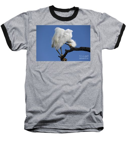 Baseball T-Shirt featuring the photograph Snowy Egret Photograph by Meg Rousher