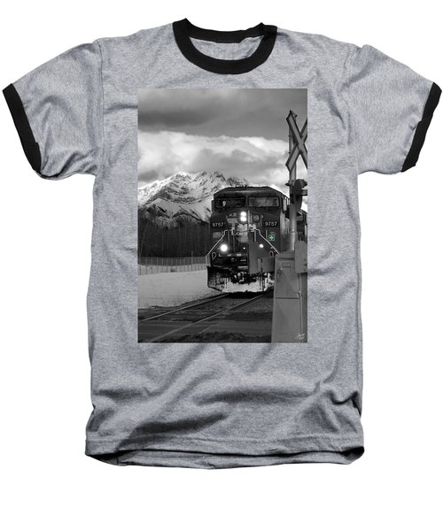 Snowy Engine Through The Rockies Baseball T-Shirt