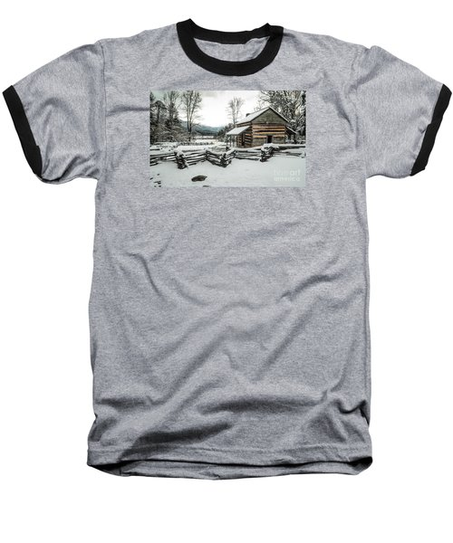 Baseball T-Shirt featuring the photograph Snowy Log Cabin by Debbie Green