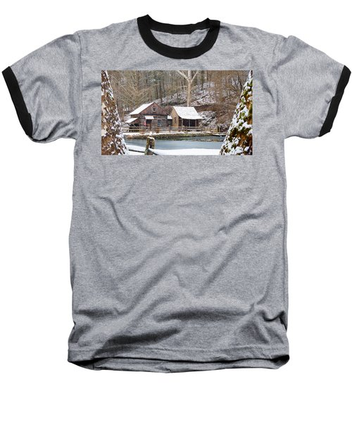 Snowy Morning In The Woods Baseball T-Shirt