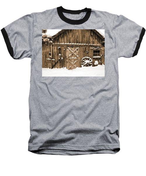 Snowy Old Barn Baseball T-Shirt