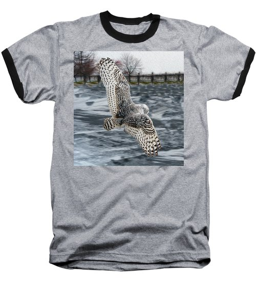 Snowy Owl Wingspan Baseball T-Shirt