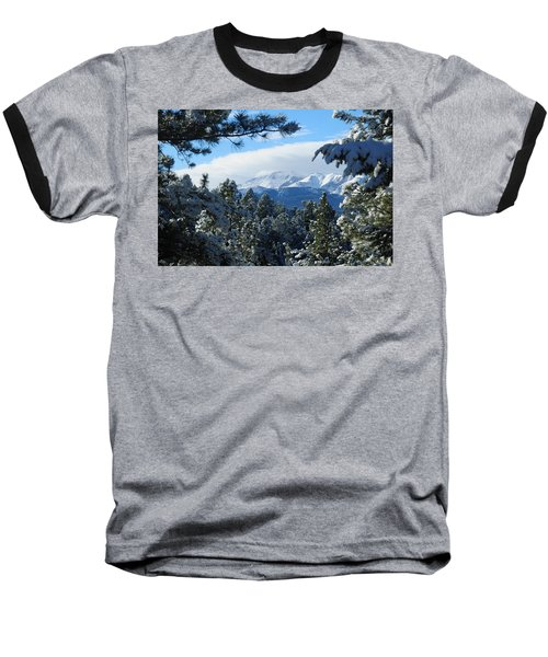 Snowy Pikes Peak Baseball T-Shirt by Marilyn Burton
