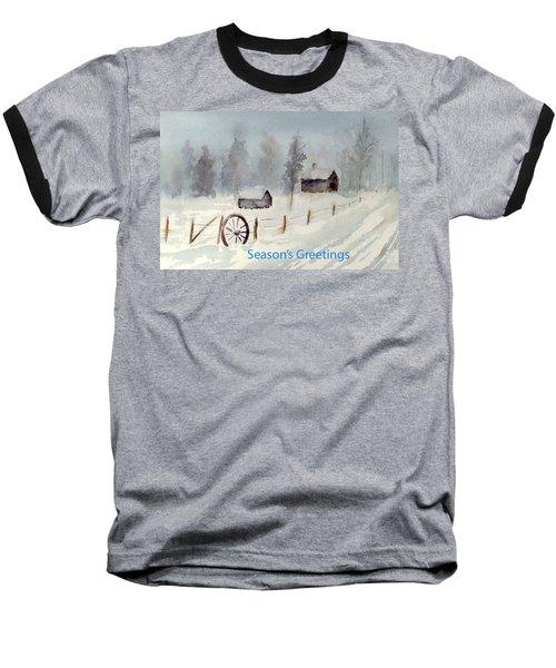 Snowy Road Baseball T-Shirt by Christine Lathrop