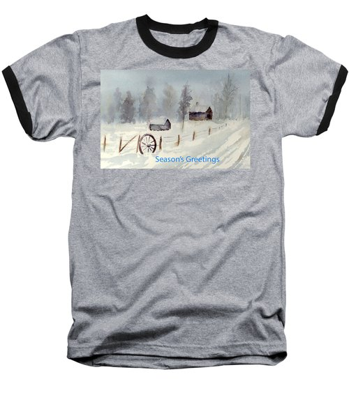 Snowy Road Baseball T-Shirt