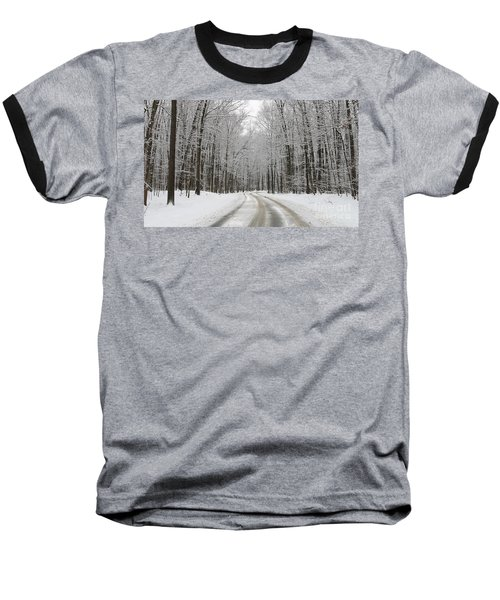 Snowy Road In Oak Openings 7058 Baseball T-Shirt by Jack Schultz