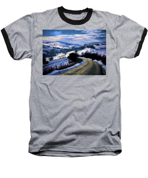 Snowy Scene And Rural Road Baseball T-Shirt