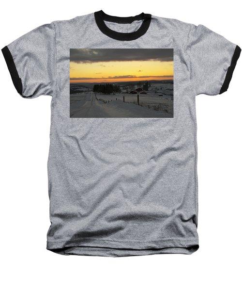Snowy Pennsylvania Sunset Baseball T-Shirt