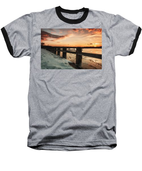 Snowy Sunset In Northport New York Baseball T-Shirt
