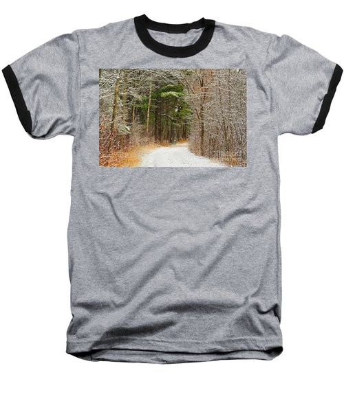 Snowy Tunnel Of Trees Baseball T-Shirt