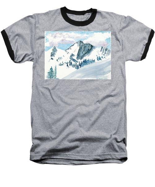 Snowy Wasatch Peak Baseball T-Shirt