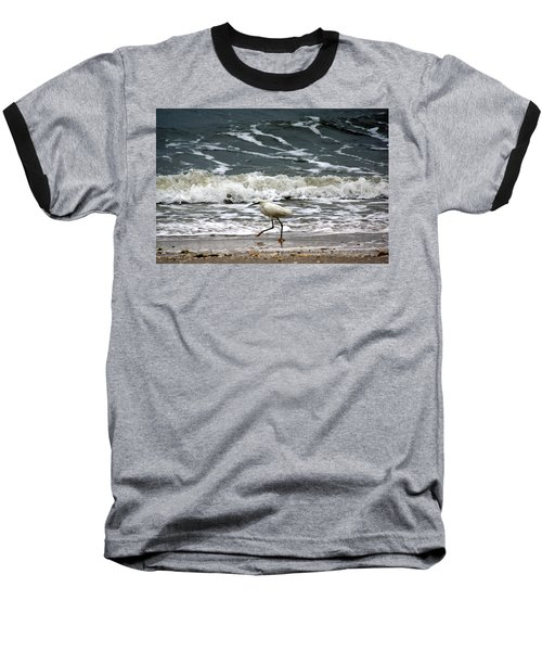 Snowy White Egret Baseball T-Shirt by Kim Pate
