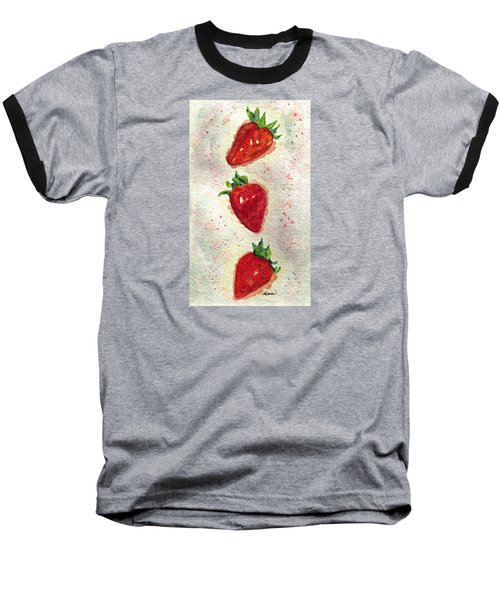Baseball T-Shirt featuring the painting So Juicy by Angela Davies