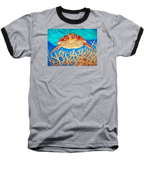 Sea  Turtle Soaring Over Staghorn Baseball T-Shirt