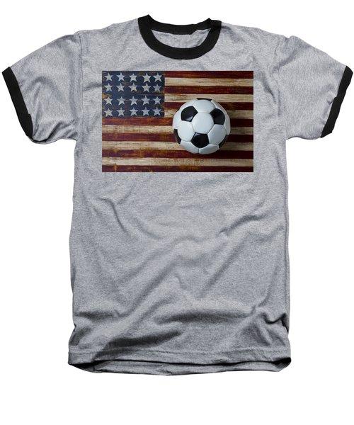 Soccer Ball And Stars And Stripes Baseball T-Shirt