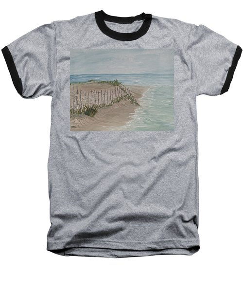 Baseball T-Shirt featuring the painting Soft Sea by Barbara McDevitt