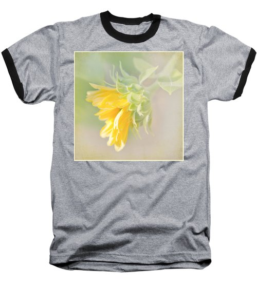 Baseball T-Shirt featuring the photograph Soft Yellow Sunflower Just Starting To Bloom by Patti Deters