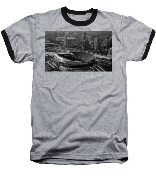 Soldier Field Chicago Sports 05 Black And White Baseball T-Shirt by Thomas Woolworth