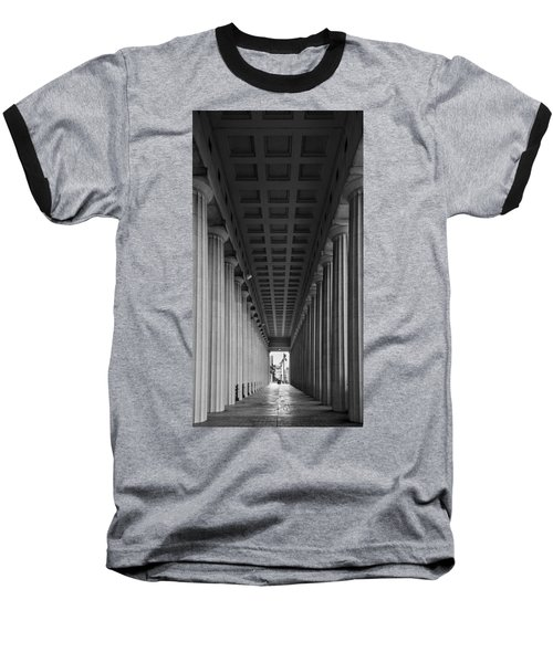 Soldier Field Colonnade Chicago B W B W Baseball T-Shirt by Steve Gadomski