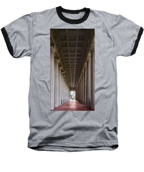 Soldier Field Colonnade Baseball T-Shirt by Steve Gadomski